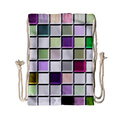 Color Tiles Abstract Mosaic Background Drawstring Bag (small) by Simbadda