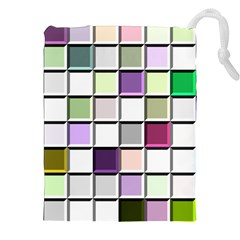 Color Tiles Abstract Mosaic Background Drawstring Pouches (xxl) by Simbadda