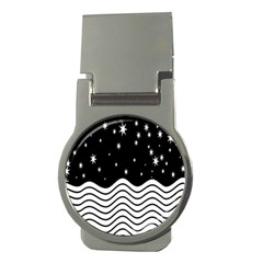 Black And White Waves And Stars Abstract Backdrop Clipart Money Clips (round)  by Simbadda
