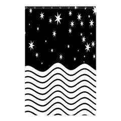 Black And White Waves And Stars Abstract Backdrop Clipart Shower Curtain 48  X 72  (small)  by Simbadda
