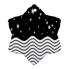 Black And White Waves And Stars Abstract Backdrop Clipart Snowflake Ornament (two Sides) by Simbadda