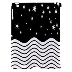 Black And White Waves And Stars Abstract Backdrop Clipart Apple Ipad 3/4 Hardshell Case (compatible With Smart Cover) by Simbadda
