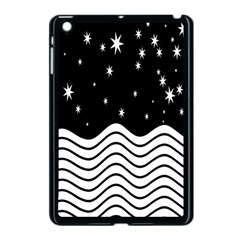 Black And White Waves And Stars Abstract Backdrop Clipart Apple Ipad Mini Case (black) by Simbadda