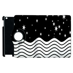 Black And White Waves And Stars Abstract Backdrop Clipart Apple Ipad 2 Flip 360 Case by Simbadda