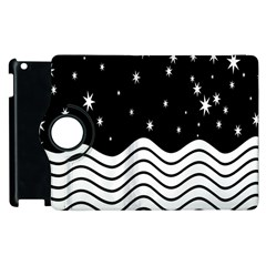 Black And White Waves And Stars Abstract Backdrop Clipart Apple Ipad 3/4 Flip 360 Case by Simbadda