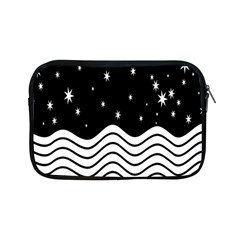 Black And White Waves And Stars Abstract Backdrop Clipart Apple Ipad Mini Zipper Cases by Simbadda