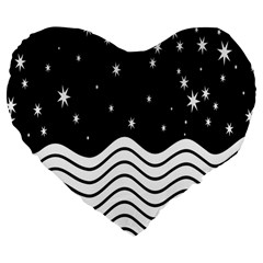 Black And White Waves And Stars Abstract Backdrop Clipart Large 19  Premium Flano Heart Shape Cushions by Simbadda