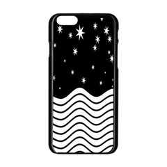 Black And White Waves And Stars Abstract Backdrop Clipart Apple Iphone 6/6s Black Enamel Case by Simbadda