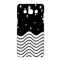Black And White Waves And Stars Abstract Backdrop Clipart Samsung Galaxy A5 Hardshell Case  by Simbadda