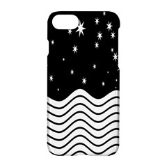 Black And White Waves And Stars Abstract Backdrop Clipart Apple Iphone 7 Hardshell Case