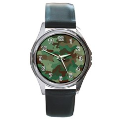 Camouflage Pattern A Completely Seamless Tile Able Background Design Round Metal Watch by Simbadda