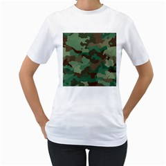 Camouflage Pattern A Completely Seamless Tile Able Background Design Women s T Shirt (white) (two Sided)