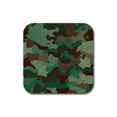 Camouflage Pattern A Completely Seamless Tile Able Background Design Rubber Square Coaster (4 Pack)  by Simbadda