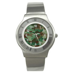 Camouflage Pattern A Completely Seamless Tile Able Background Design Stainless Steel Watch by Simbadda