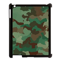Camouflage Pattern A Completely Seamless Tile Able Background Design Apple Ipad 3/4 Case (black)