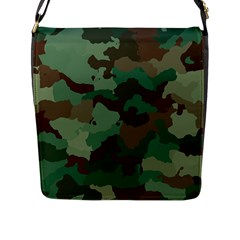 Camouflage Pattern A Completely Seamless Tile Able Background Design Flap Messenger Bag (l)  by Simbadda