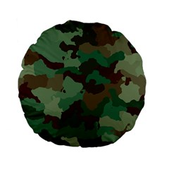 Camouflage Pattern A Completely Seamless Tile Able Background Design Standard 15  Premium Flano Round Cushions by Simbadda