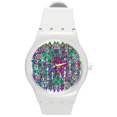 Sunny Roses In Rainy Weather Pop Art Round Plastic Sport Watch (m) by pepitasart
