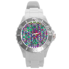 Sunny Roses In Rainy Weather Pop Art Round Plastic Sport Watch (l) by pepitasart