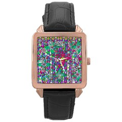 Sunny Roses In Rainy Weather Pop Art Rose Gold Leather Watch  by pepitasart