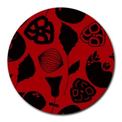 Congregation Of Floral Shades Pattern Round Mousepads by Simbadda