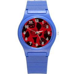 Congregation Of Floral Shades Pattern Round Plastic Sport Watch (s) by Simbadda