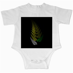 Drawing Of A Fractal Fern On Black Infant Creepers by Simbadda