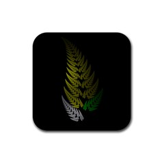 Drawing Of A Fractal Fern On Black Rubber Coaster (square)  by Simbadda