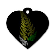 Drawing Of A Fractal Fern On Black Dog Tag Heart (two Sides) by Simbadda