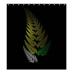 Drawing Of A Fractal Fern On Black Shower Curtain 66  X 72  (large)  by Simbadda