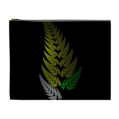 Drawing Of A Fractal Fern On Black Cosmetic Bag (xl) by Simbadda