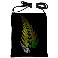 Drawing Of A Fractal Fern On Black Shoulder Sling Bags by Simbadda