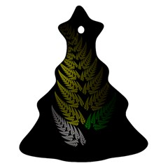 Drawing Of A Fractal Fern On Black Christmas Tree Ornament (two Sides) by Simbadda