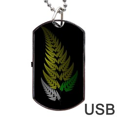 Drawing Of A Fractal Fern On Black Dog Tag Usb Flash (one Side) by Simbadda
