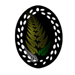 Drawing Of A Fractal Fern On Black Oval Filigree Ornament (two Sides) by Simbadda