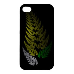 Drawing Of A Fractal Fern On Black Apple Iphone 4/4s Premium Hardshell Case by Simbadda