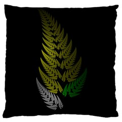Drawing Of A Fractal Fern On Black Large Cushion Case (two Sides) by Simbadda