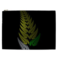 Drawing Of A Fractal Fern On Black Cosmetic Bag (xxl)  by Simbadda