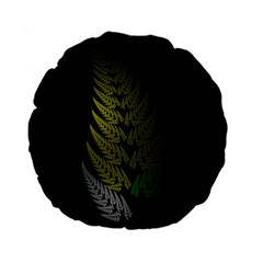 Drawing Of A Fractal Fern On Black Standard 15  Premium Round Cushions by Simbadda