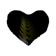Drawing Of A Fractal Fern On Black Standard 16  Premium Heart Shape Cushions by Simbadda