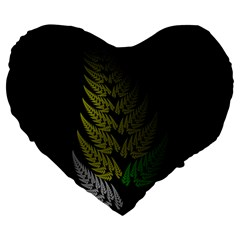 Drawing Of A Fractal Fern On Black Large 19  Premium Heart Shape Cushions by Simbadda