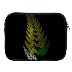 Drawing Of A Fractal Fern On Black Apple Ipad 2/3/4 Zipper Cases by Simbadda