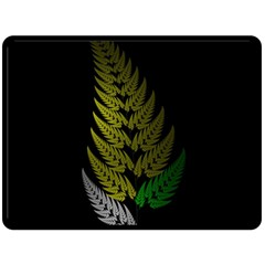 Drawing Of A Fractal Fern On Black Double Sided Fleece Blanket (large)  by Simbadda