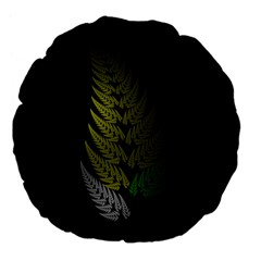 Drawing Of A Fractal Fern On Black Large 18  Premium Flano Round Cushions by Simbadda