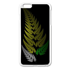 Drawing Of A Fractal Fern On Black Apple Iphone 6 Plus/6s Plus Enamel White Case by Simbadda