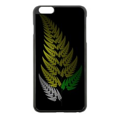 Drawing Of A Fractal Fern On Black Apple Iphone 6 Plus/6s Plus Black Enamel Case by Simbadda