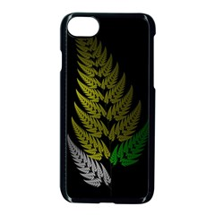 Drawing Of A Fractal Fern On Black Apple Iphone 7 Seamless Case (black) by Simbadda