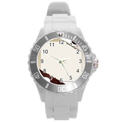 Greeting Card Coffee Mood Round Plastic Sport Watch (l) by Simbadda