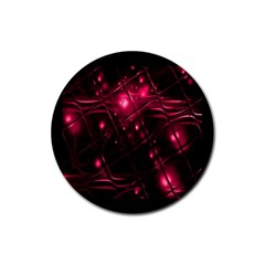 Picture Of Love In Magenta Declaration Of Love Rubber Round Coaster (4 Pack)  by Simbadda