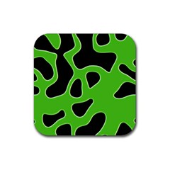 Black Green Abstract Shapes A Completely Seamless Tile Able Background Rubber Square Coaster (4 Pack)  by Simbadda